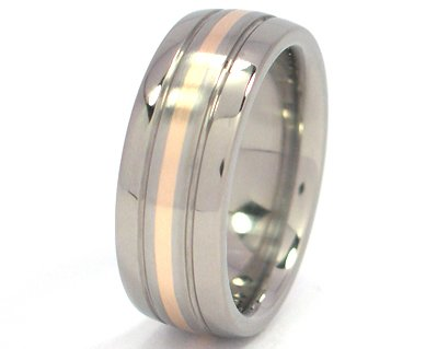 titanium wedding ring with 14k yellow gold inlay mens rings bands - Wedding Rings Amazon