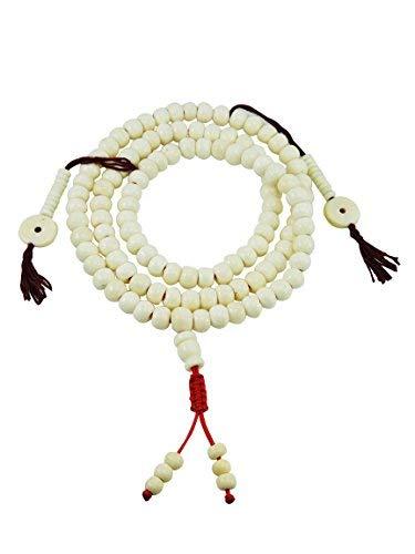 Hands Of Tibet Tibetan Mala Yak Bone Mala 108 Beads for Meditation with Bone - Beads Yak Bone