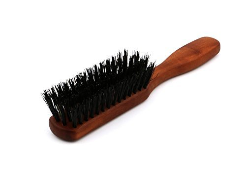 Beard brush with handle, 4 rows, for men, made of high quality pear wood with pure wild boar bristles, ideal for a noble natural beard care, also suitable for travelling, size approx. 155x25 mm Kulturgut-Shop