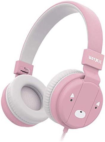 折り畳み式ワイヤレスヘッドセット、400 Mahバッテリーミュージックヘッドフォン子イヤホン調整可能ヘッドバンド、ステレオIpad電話子供用スクール(ピンク)zz