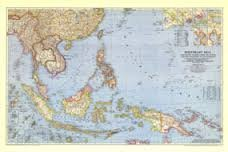 National Geographic Map Southeast Asia and Pacific Islands From the Indies and the Philippines to the Solomons 1944