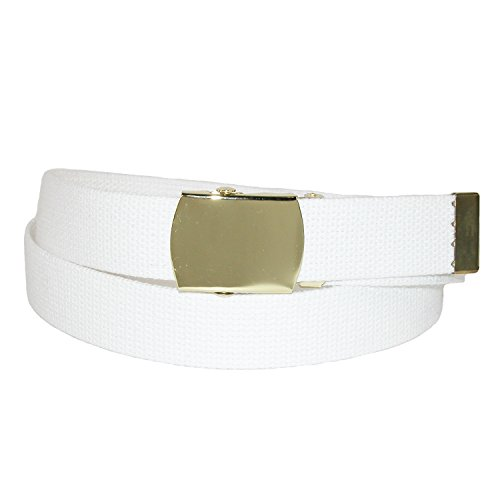 CTM® Fabric Adjustable Belt with Brass Buckle (Available in Big & Tall), XL, - Big Brass Buckle
