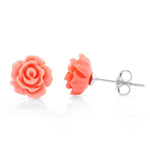925 Sterling Silver Tiny Orange Rose Flower 9 mm Post Stud - Silver Orange