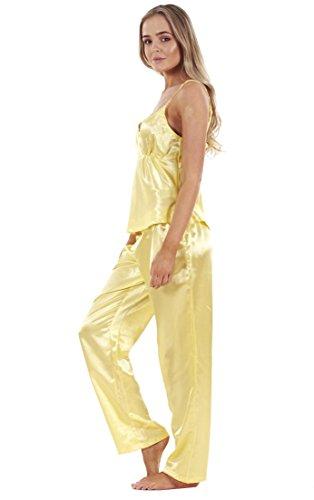 Conjunto de pijama de raso de 3 piezas para mujer camiseta encaje y pantalones cortos: Amazon.es: Ropa y accesorios