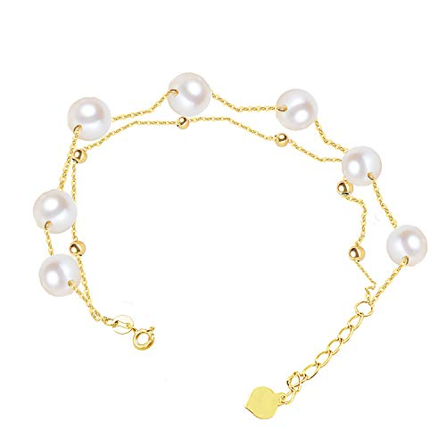 (Sinya Real 18kt Gold Double Chains Charm Braclet Setting Round Freshwater Cultured Pearl for Women)