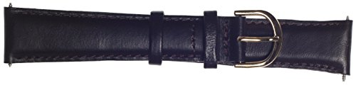 18mm Black TOPPS Padded Fine Calf Genuine Leather Watchba...