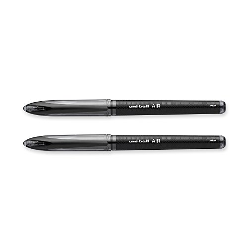 Uniball 1927597 AIR Rollerball Pen; Features Uni Super Ink Technology, Protects Against Water, Fading and Fraud; Black Color, 1 Blister Pack of 2 Pens