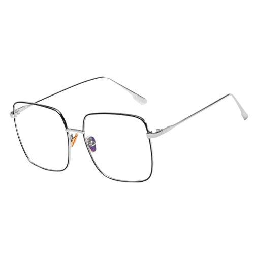 Glasses Women Metal amp;Black Zhhlinyuan Protection Unisex de soleil lunettes Mode amp; Safety Étui Men à Qualité UV Vintage for Silver Sunglasses lunettes q6B6t
