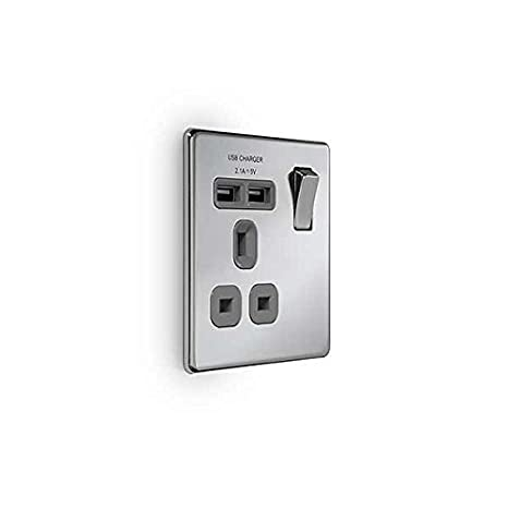 BG Electrical nbs21u2b 2.1 A Masterplug Single Socket with 2 x USB