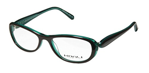 Koali 7183k Womens/Ladies Rxable Premium Quality Designer Full-rim Eyeglasses/Eyewear (51-16-130, Brown / Transparent Teal) - Koali Eyewear