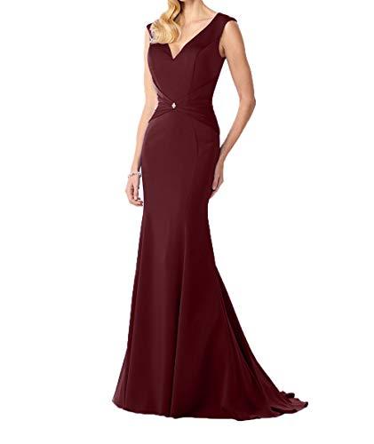 Meerjungfrau Burgundy Brautmutterkleider Damen Damen Kleider Ausschnitt V Elegant Satin Ballkleider Abendkleider Charmant Lang 78A1wxAq