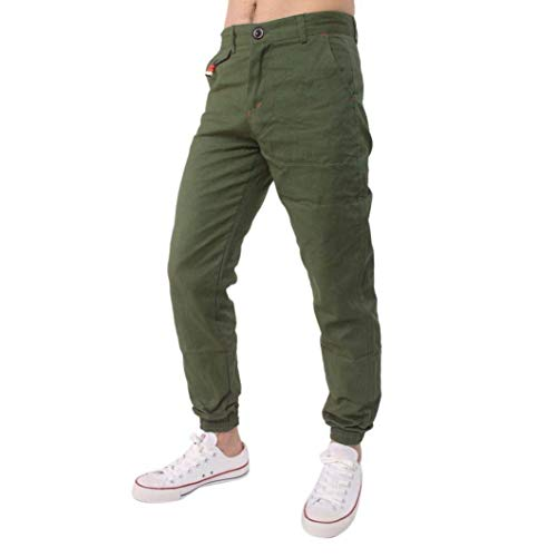 BoBoLily Pantalones Largos para Hombres Jeans Pantalones para Hombres Pantalones De Lino Pantalones De Lino Pantalones Deportivos para Hombres Sueltos Armeegrün