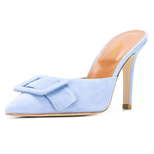 (XYD Women Mule Pointy Toe Sandals Suede Slip on Low Kitten Heel Buckle Slide Shoes Size 7 Light Blue-3