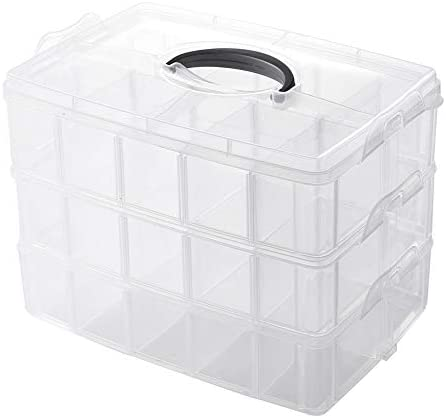 3-Tier Storage Container Box with 30 Grids( Adjustable Dividers)for Arts and Crafts Beads Kids Toys Jewelry Sewing Threads Embroidery Accessories Small Items