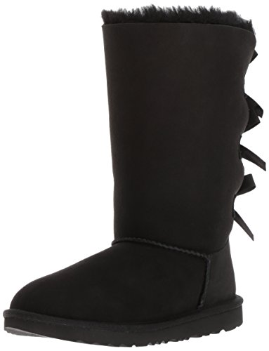 UGG Kids K Bailey Bow Tall II Pull-On Boot, Black, 6 M US Big Kid (Bailey Bow Uggs For Girls)