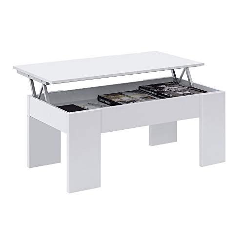 Habitdesign 001640A - Mesa de Centro elevable, mesita de Comedor acabada en Color Blanco Artik, Medidas: 100 cm (Largo) x 50 cm (Ancho) x 45-56 cm (Alto)