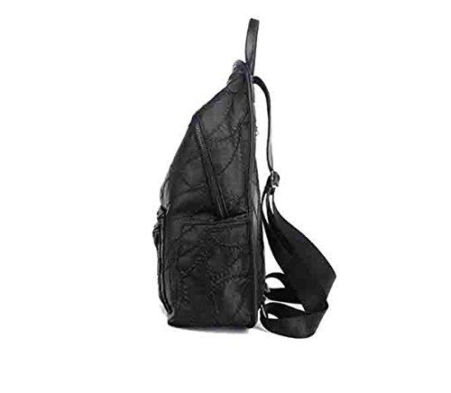 Mochila De La Mujer Retro Hombros De Gran Capacidad Al Aire Libre Casual PU Bolsa De Hombro (negro) Black