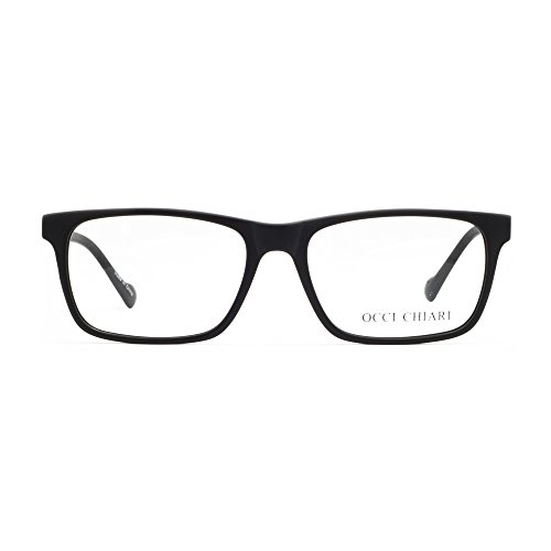 OCCI CHIARI Mens Rectangle Stylish Optical Eyewear Frame Metal Decoration Clear Lens -