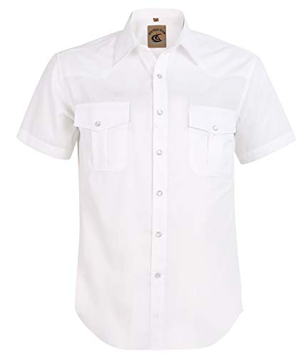 Coevals Club Men's Button Down Solid Short Sleeve Work Casual Shirt (White #5, XL) (Casual Men Xl)
