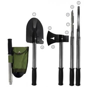 9-IN-1 Emergency tool kit, shovel, axe, knife, hammer & more from Blue Ty