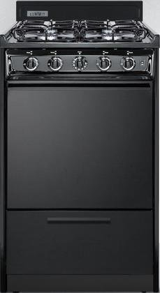 TTM1107CS 20 Gas Freestanding Range with 4 Sealed Burner Electronic Ignition Removable Burner Caps and Broiler Compartment in Black -  Summit