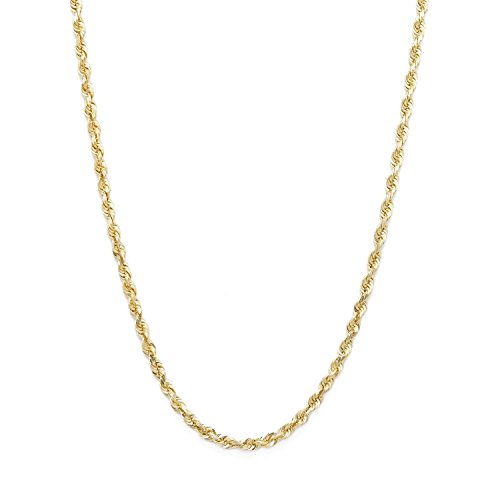 30 Inch 10k Yellow Gold Solid Diamond Cut Rope Chain Necklace, 2mm by SL Chain Collection
