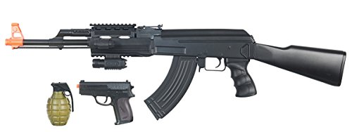 UK ARMS AK47 Airsoft Electric Rifle AEG Gun Semi and Full Auto - Black