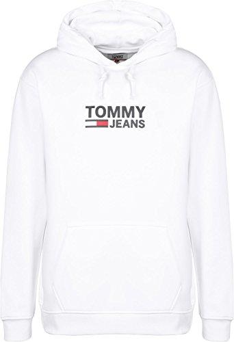 Tommy Hoodie Jeans Logo Corp Uomo Bianca 0x0I7rqw