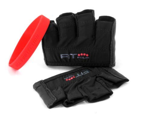 Fit Four The Anti-Ripper Glove Callus Guard Fitness Gloves for Weightlifting & Cross Training Athletes - Premium Leather Palm (All Black, Large)