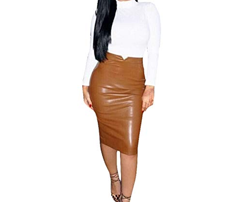 Blue Skieses Women Leather Skirt Streetwear Casual Office Work Wear Pencil Skirt High Waist Long Velvet Skirts,Coffee,M