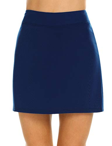 Ekouaer Skirts with Underneath Women's Everyday Skort Tight Comfy Sportswear Plus Size(Navy Blue/XL) (Navy Blue Clothing)