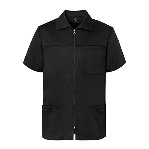 Barber Jacket, Men's 4X-Large Short Sleeve Scrub Jacket - Black Professional Zip Up Shirt with Pockets - 4X