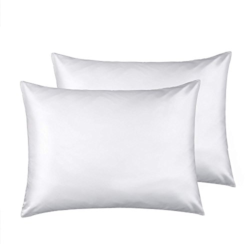 FLXXIE Standard Silky Satin Pillowcases, Soft and Luxury, Pack of 2, Hidden Zipper, White ()