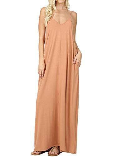 (MixMatchy Women's Summer Casual Plain Flowy Pockets Loose Beach Cami Maxi Dress Camel XL)
