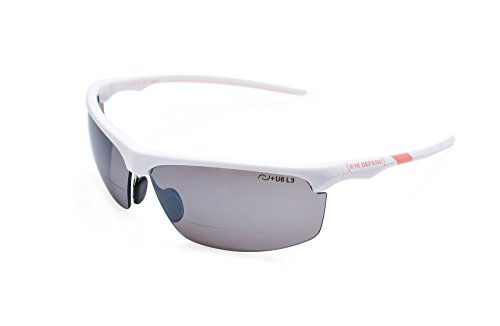 Optx 20/20 Eyedefend Outrigger Safety Sun Reader  Polycarbonate Polarized Bifocal Sun, White/Pink, +200, ANSI - Optx Sunglasses