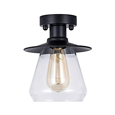 DIHUANG Lighting Vintage Industrial Semi Flush Mount Ceiling Light with Clear Glass Mini Cone Shape Close to Ceiling Light for Indoor Hallway Foyer Matte Black