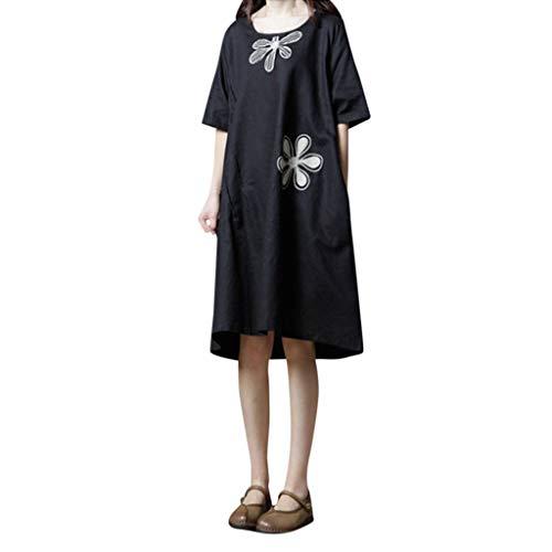 UEANRFA Plus Size Dresses Summer Women's Cotton Linen Embroidered Flower Round Neck Short Sleeve Loose Dress -