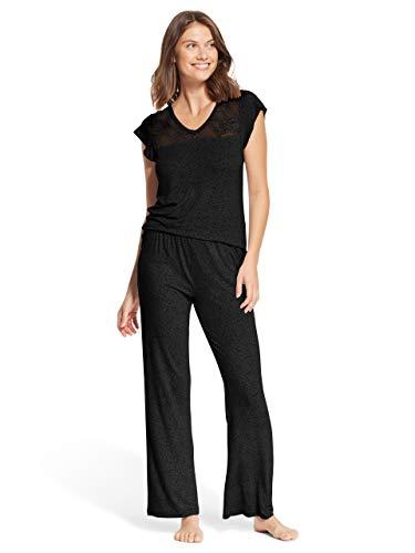 Kathy Ireland Womens 2 Piece Cap Sleeve V-Neck Shirt Pajama Sleep Pants Black Ebony ()