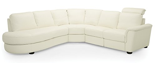 Lyon 77877 5-Seat Curved Corner Reclining Sectional with Bumper, Broadway Alabaster - Alabaster Sofa