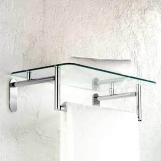 Motiv 0243-20/SN Sine Tempered Glass Hotel Bathroom Shelf by BrassTech - Brasstech Shelf