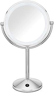 Conair Espelho de maquiagem refletions de dupla face com iluminação de LED, ampliação de 1x/10x, acabamento cr