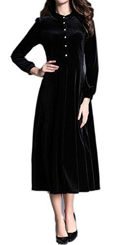- Women's Fall Maxi Swing Velvet Dress High Neck Front Buttons Corduroy Slim Long Skirt US 6(Asian Size L) Black