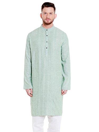 Shatranj Men's Indian Banded Collar Cotton Classic Kurta Tunic with Pintucks; Mint Green; LG by Shatranj