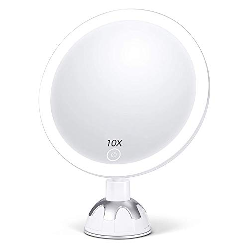 10X Magnifying Shower Mirror with Light, Touch Screen 3 Color LED LightedFacial Mirror Magnified Portable Compact 360°Rotation Suction Cup Wall Mount for Bathroom Travel (New)