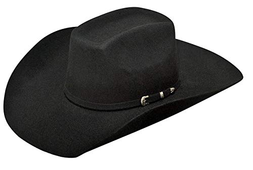 ARIAT Men's Wool 3 Piece Buckle Hat, Black, 6 3/4 - Leather Wool Cowboy Hat