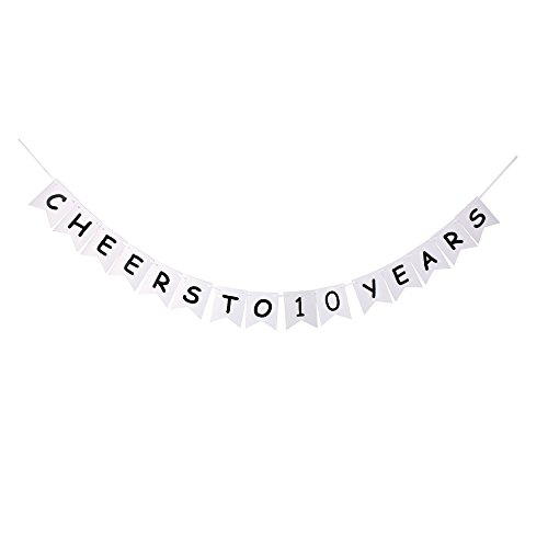 (Cheers to 10 Years Banner, 10th Wedding Anniversary Party Decor, Happy 10th Birthday Party Bunting)