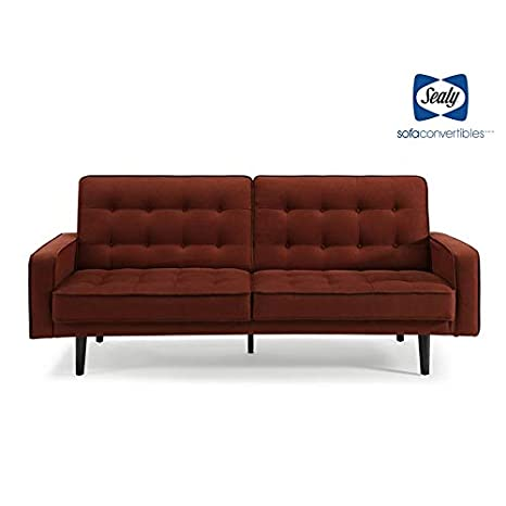 Sealy Trieste Mid-Century Split-Back Convertible Sofa in Red