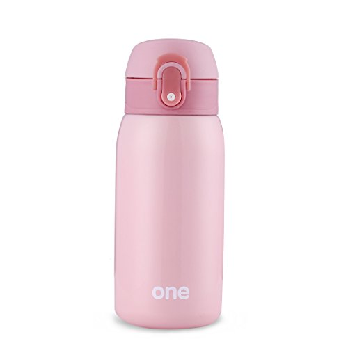 Mini Water Bottle for Kids& Adult, Vacuum Insulated Bottle, Travel Coffee Cup, Stainless Steel Thumbler,Sweet Pure Color Water Bottle for Girls& Office Ladies, Pure - 320ml/11oz (Pink)