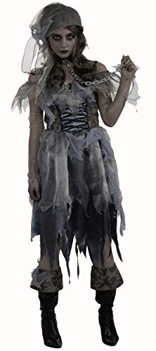 Pirate Zombie Costume (Pirate Wench Zombie Ghost Caribbean Girl Fancy Dress Halloween Adult Costume, Black/Gray, One)