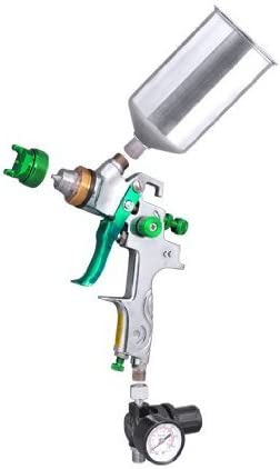 Professional Gravity Feed HVLP Spray Gun Auto Paint Sprayer Silver Green w 2.5mm Fluid Tip Regulator Gauge Stainless Steel Cup Needle Nozzle 90 PSI 1L for Surface Coat Primer Metal Flake Body